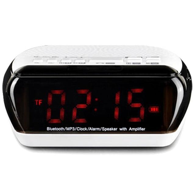 HOT-Portable Multifunctional DOUBLE ALARM Clock Bluetooth/Wirelss Speaker FM Radio Time Display TF Card Slot