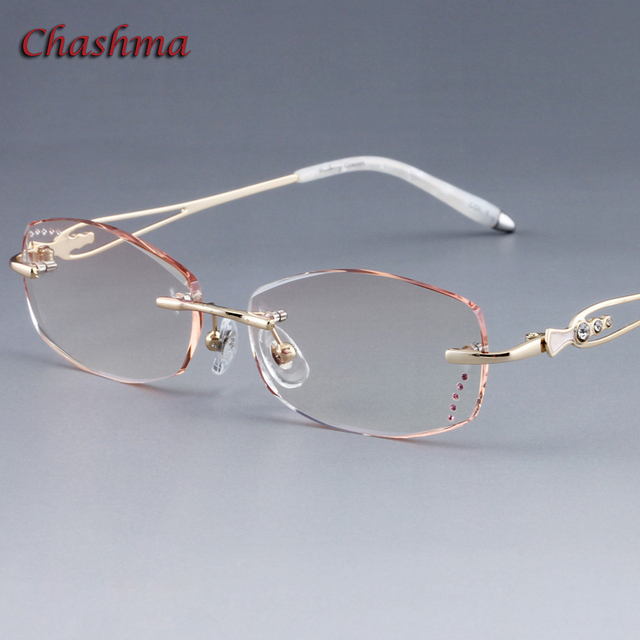 ff431e5c87d Chashma Brand Colored Lenses Fashion Glasses Frame Women Optical Glasses  Rimless Alloy Spectacles Women lentes opticos mujer