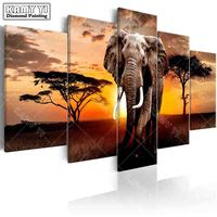 Full Square Drill Diamond Embroidery Sunset Elephant 5D DIY Diamond Painting Cross Stitch Multi Picture
