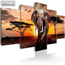 Полный квадратный сверло Алмазная вышивка картина Слон на закате 5D DIY Алмазная Живопись Вышивка крестом мульти-картина украшение дома
