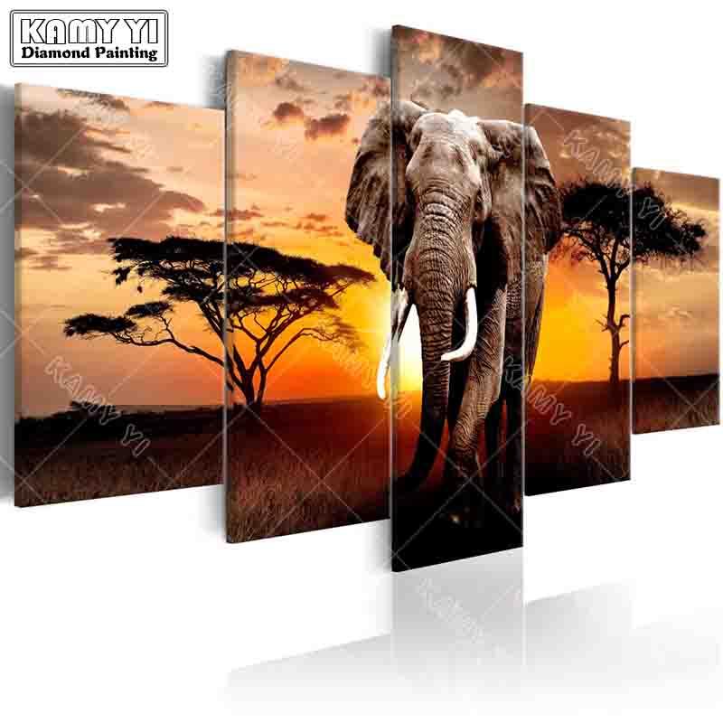 Voll platz bohrer Diamant stickerei Sonnenuntergang elefanten 5D DIY diamant malerei Kreuzstich Multi-bild home decoration