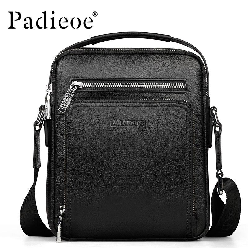 ФОТО Padieoe Brand 100% Genuine Leather Men Messenger Bag Casual Durable Crossbody Bag Business Men's Handbag Shoulder Bags