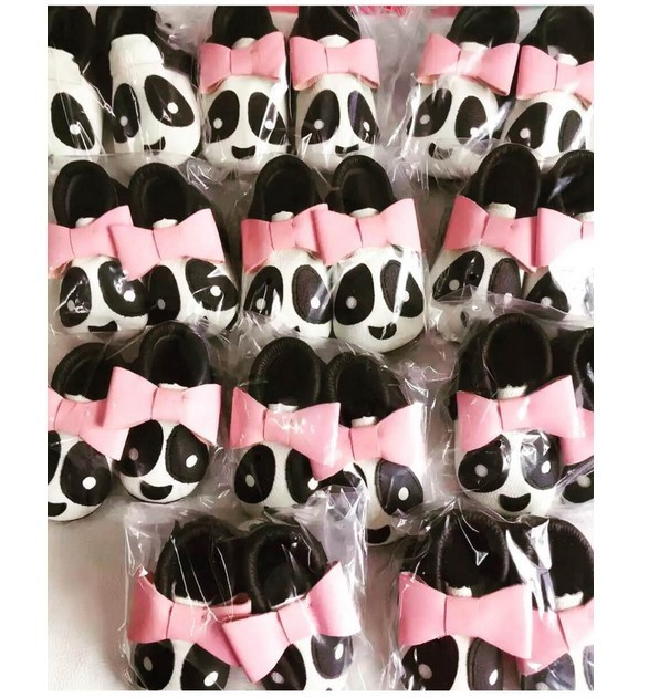 New rosa bonito arco Sapatos Mocassins Macio Moccs Bebê Panda infantil Da Criança Do Bebê Recém-nascido Da Menina do Menino Crianças Prewalker Não-deslizamento Sapatos 0-24 m