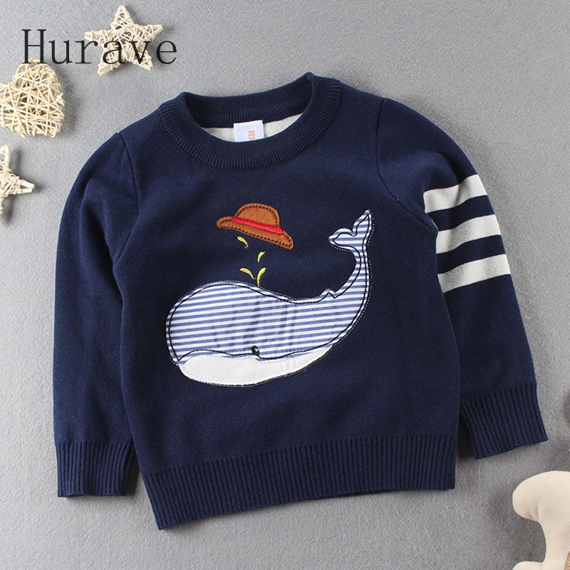 Hurave 2017 Korean style kids sweater children cartoon printed kintted sweater infantil long sleeve boy clothing