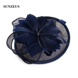 Image 4 - White Wedding Hat for Bridal Feathers Linen Flowers Elegant Womens Party Hats Navy Blue tocados sombreros bodas  SH64
