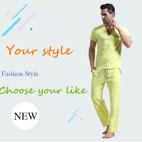 WJ Men Cotton Pajamas Set Sleepwear Bottoms Long Pant Casual Wear Short-Sleeved Shirt Leisure Suit (for a Suits) Pakistan