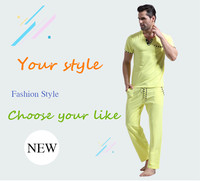 WJ Men Cotton Pajamas Set Sleepwear Bottoms Long Pant Casual Wear Short Sleeved Shirt Leisure Suit (for a Suits)