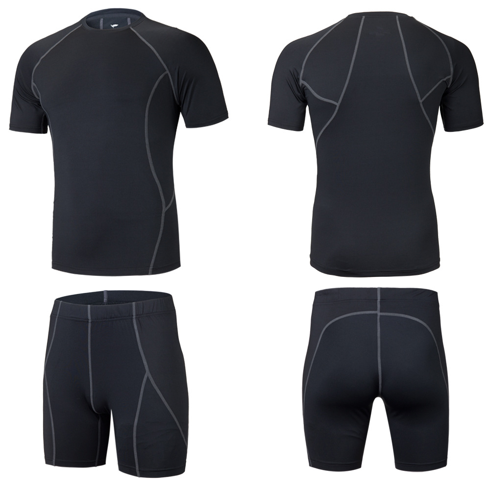 New Men Kids Running Sets Sport Kit Suits Clothes Shorts T Shirt Compression Tights Gym  ...
