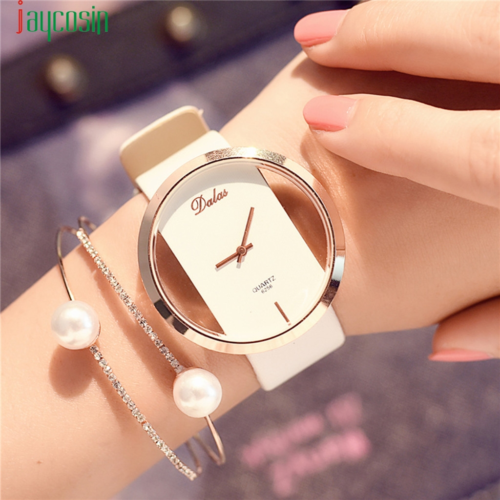 White Watch Women Brand Luxury Fashion Quartz Unique Stylish Hollow Skeleton Watch Leather Sport Lady Wristwatches Reloj(China)