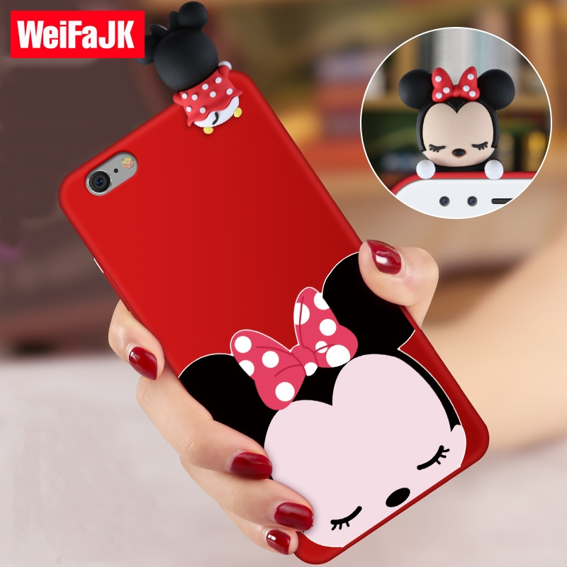 3D Cute Cartoon Doll Phone Case for iPhone 7 6 6s Pattern Red Silicone Soft TPU Cover Case for iPhone 6 7 8 Plus X Case 6 Coque