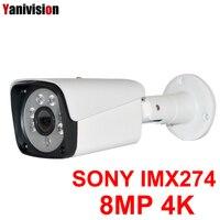 IMX274 8MP 4K Ultra HD Bullet IP Camera Outdoor Surveillance Security Video Camera IP IR Night View Motion Detect 48V POE ONVIF