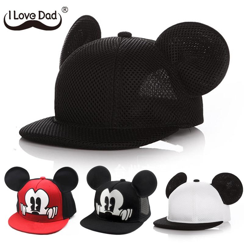 I LOVE DAD Mickey Ears Baby Sun Hat Children Snapback