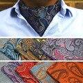 Los hombres de Lujo Auto Empate Paisley Jacquard Floral Corbata Ascot Boda Bandana BWTYX0132