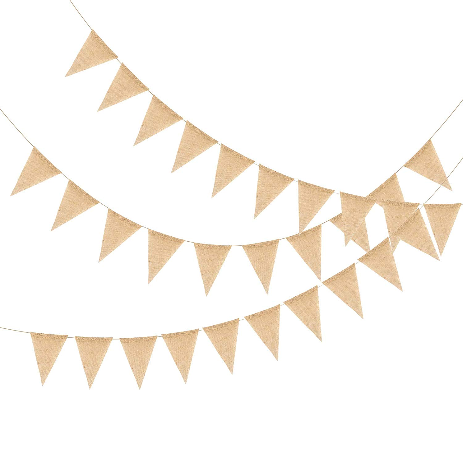 METABLE 50 Pcs Hessian Banner Flag Bunting Garland Hanging Pennant Vintage DIY Party Decor for Birthday,Wedding, bride to be