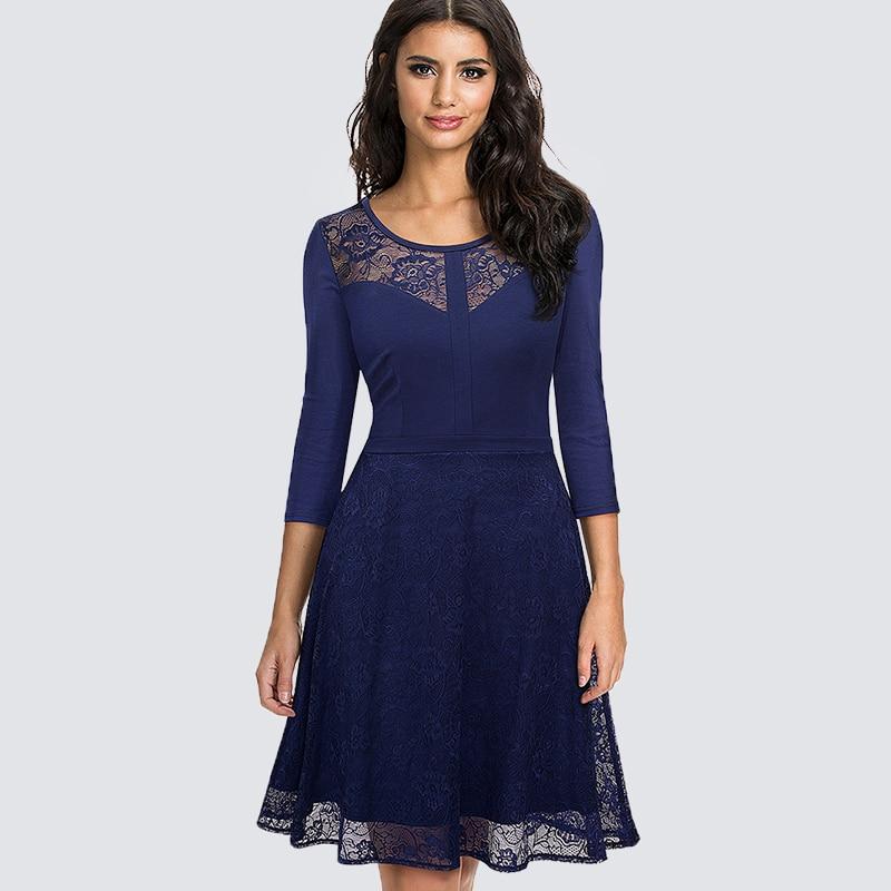 Rétro Vintage Floral dentelle Patchwork balançoire a-ligne robe femmes élégant élégant O cou tunique Wiggle robe de soirée HA072
