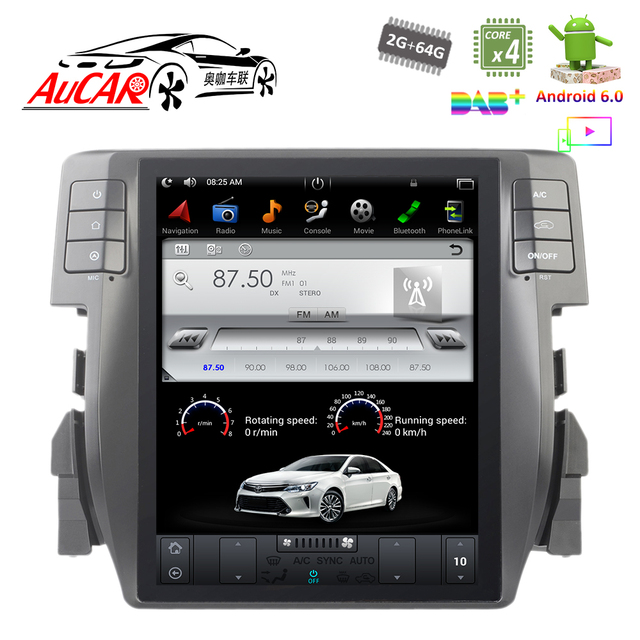 Android 6 0 Tesla Style 10 4 Gps Navigation System For Honda Civic 2016 2018 Bluetooth Radio Wifi 4g Vertical Screen Stereo