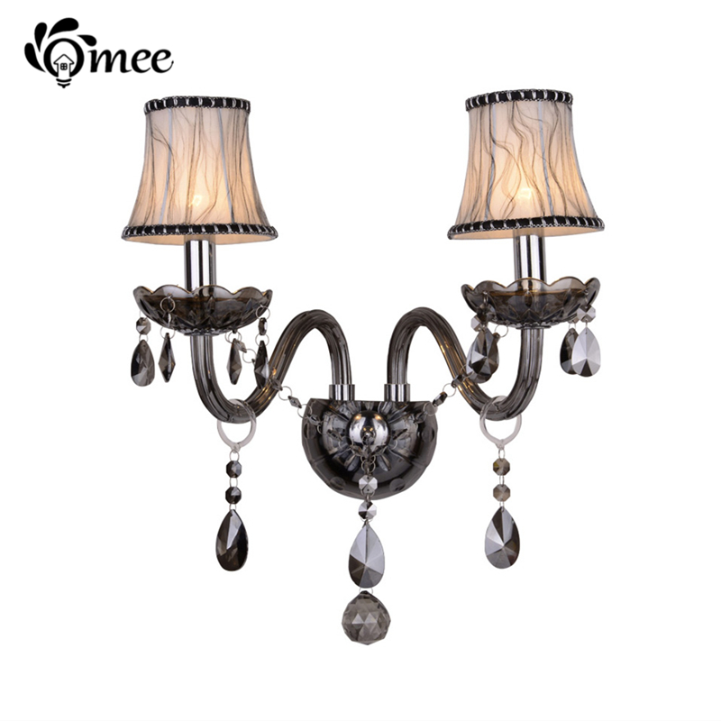 ФОТО Modern Luxury Wall Sconce Lighting European Style Wall Lights Smoke Gray Bedside Crystal Lamp LED Wall Lamps Bedroom Fixture
