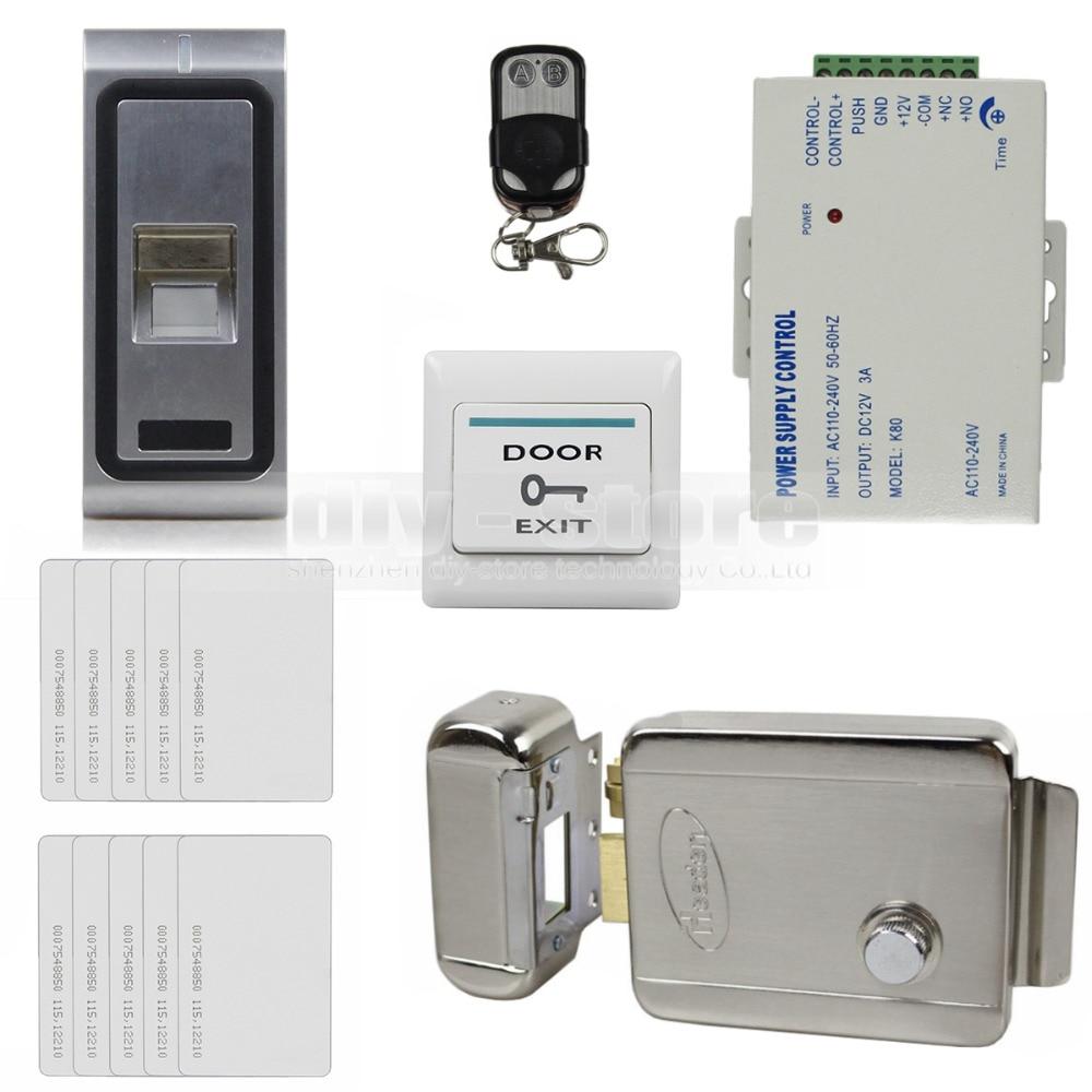 DIYSECUR Remote Control Fingerprint 125KHz RFID ID Card Reader Metal Case Door Access Control System Kit + Electric Lock