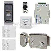 Diysecurリモコン指紋125 Khz rfid idカードリーダー金属ケースドアアクセスコントロールシステムキット+電気