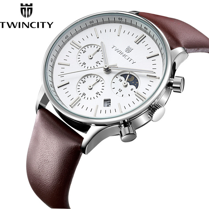 Fashion TWINCITY Men Dress Business Watches Waterproof Genuine Leather Calendar Quartz Casual Multifunction Wristwatch Males classic fashion business designer men dress watches imported quartz calendar analog clock waterproof real leather relojes nw4233
