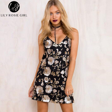 Deep V Neck Floral Sequin Black Sexy Dress Women Mini Christmas Evening Party Girls Dress Strap Night Club Dresses Vestidos 2016