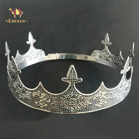 ESERES King Crown For Man Full Round Adjustable Ancient Silver Tiara Wedding Hair Accessories