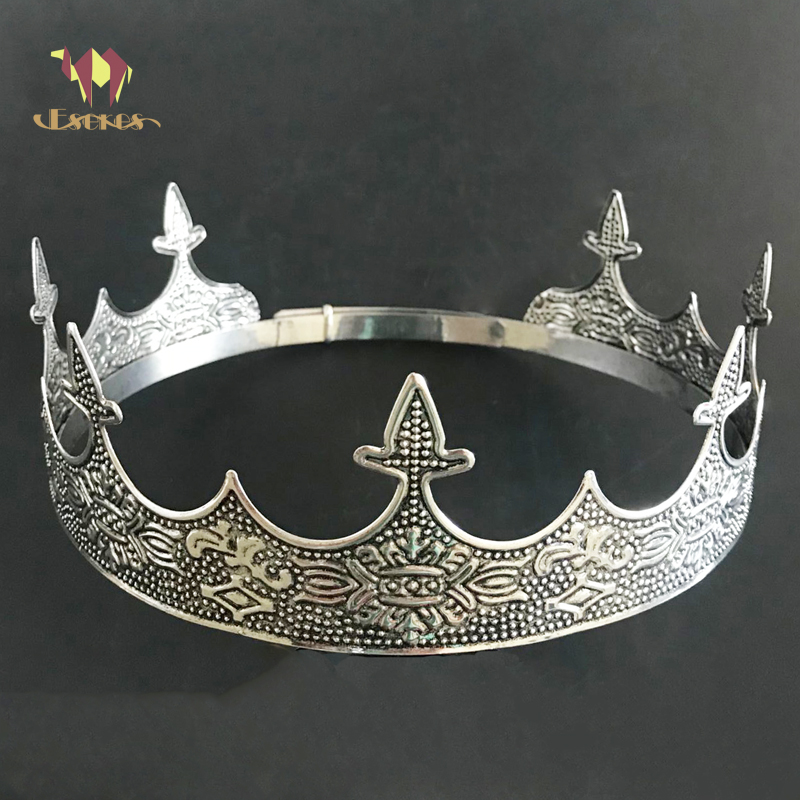 ESERES King Crown For Man Full Round Adjustable Anti Silver Crowns Prom King|Hair Jewelry|   - title=