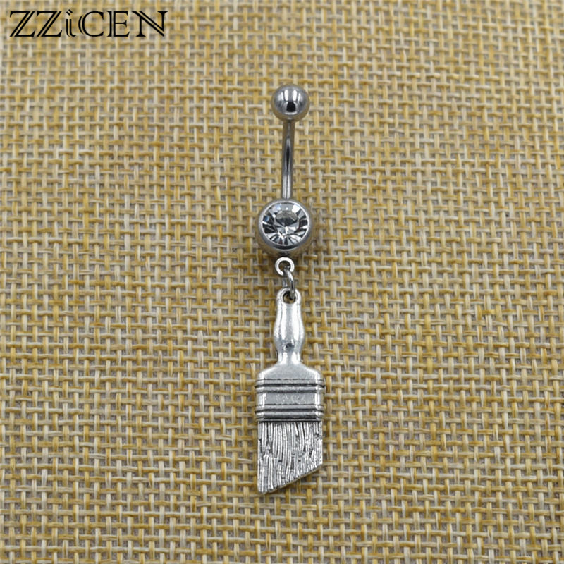Fashion Novelty Gifts Paint Brush Pendant Dangle Navel Belly Button Rings Surgical Steel Curved Bar Piercing Unique Body Jewelry