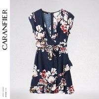CARANFIER 2018 Spring Summer Flower Print V Neck Ruffles Asymmetrical Hem Dress Women Bohemian Beach Sexy