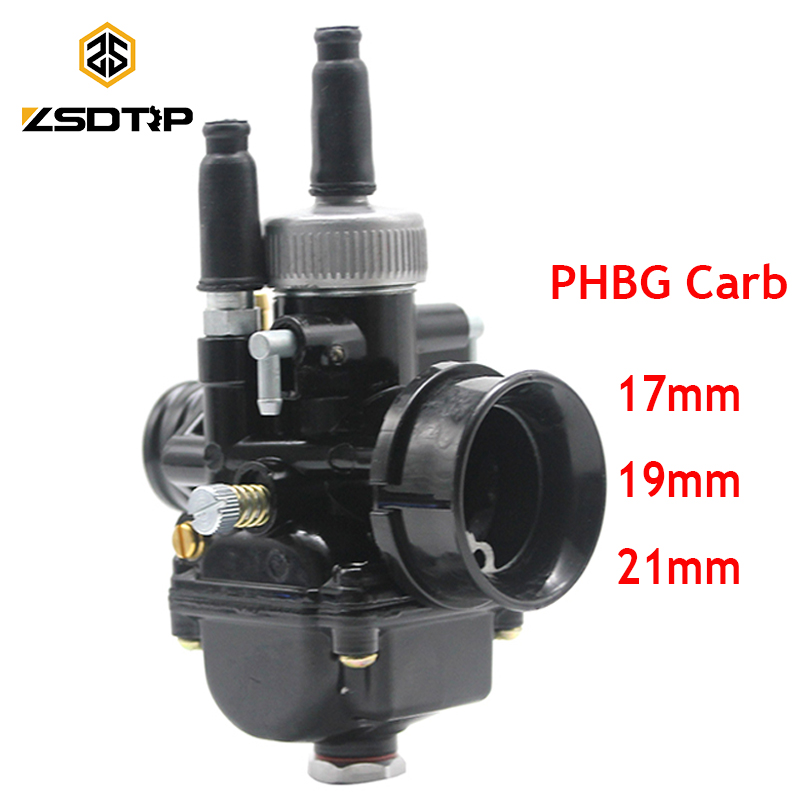 ZSDTRP Black Racing PHBG Carburetor Carb 17mm 19mm 21mm Dellorto Replica Puch Zuma fit for 50cc 70cc 90cc Motor JOG50 DIO90 high quality carburetor for yamaha 4dm zuma bws50 bws100 jog50 jog90 4vp e4101 30 00