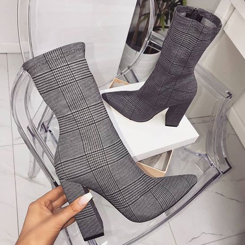 MONMOIRA Elegant Thick Heel Gingham Sock Boots Women Sexy Pointed Toe High Heel Women Boots 41