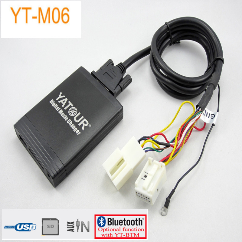 Yatour yt-m06 Car Digital CD Music Changer USBMP3 AUX adapter forVW Golf Beetle EOS Jetta Passat Rabbit T5 Tiguan Touareg Touran yatour car bluetooth adapter kit for factory oem head unit radio for audi for skoda for vw golf eos jetta passat touareg touran