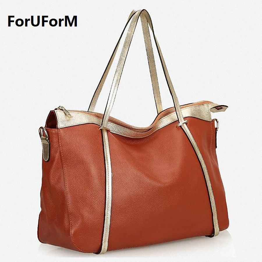 Designer Women Genuine Leather Handbags Large Shoulder Bag Cowhide Ladies Tote Bags Black Red Casual Shopping Bag bolsos LI-1658 zackrita genuine leather luxury handbags women bags designer new 2017 large solid tote bag ladies bolsa sac a main bolsos b80