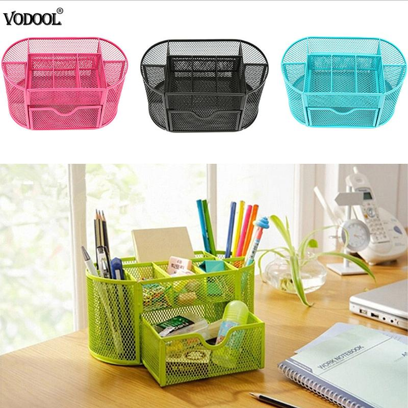 9 Cell Metal Desk Organizer Mesh Desktop Pencil Pen Sundries Badge Holder Storage Box Stationery Ruler School Office Supplies