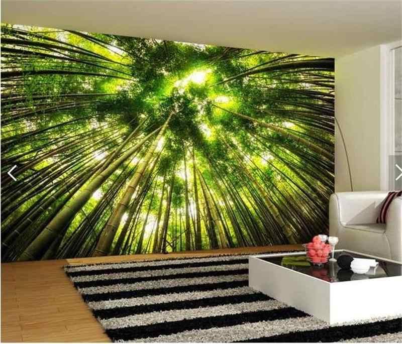 3D Номер фото обои на заказ росписи Нетканые стикер солнечного света бамбуковый лес живопись ТВ установка стены 3d фрески обои