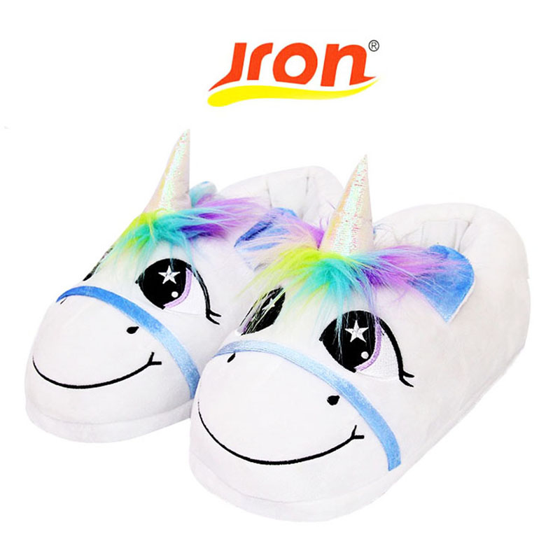 Jron Winter Warm Indoor Slippers Cute Cartoon Plush Unicorn Slippers for Grown Ups Unisex Home Slippers Pantufa Unicornio Flats home grown