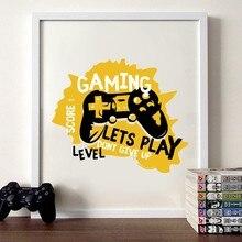 Joypad gaming ilustração cartaz da arte da parede meninos impressão em tela jogos vamos jogar pintura a arte imagem do quarto das crianças decoração da parede