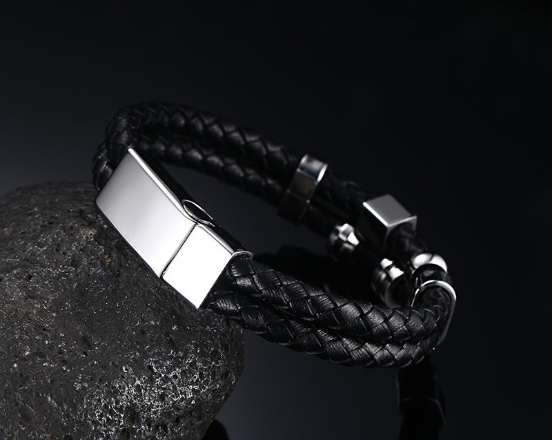 Punk Style New Fashion Multi Layered Bangle Man Stainless Steel Genuine Leather Black Bracelet