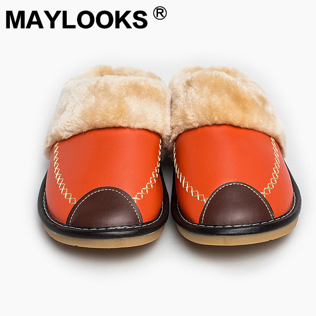 2017 New Women Indoor Slippers PU Leather Cute Cover Toe Warm Plush Anti-slippy Flat Women Shoes  8835