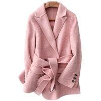 Wool Coat Female Jacket Spring Autumn Coat Women Clothes 2019 Korean Elegant Pink Woolen Coat Blazer Mujer Outerwear ZT2201