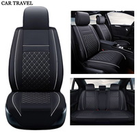 Front Rear Luxury Leather Car Seat Cover Set Universal Black Beige Brown Sport Car Seat Covers