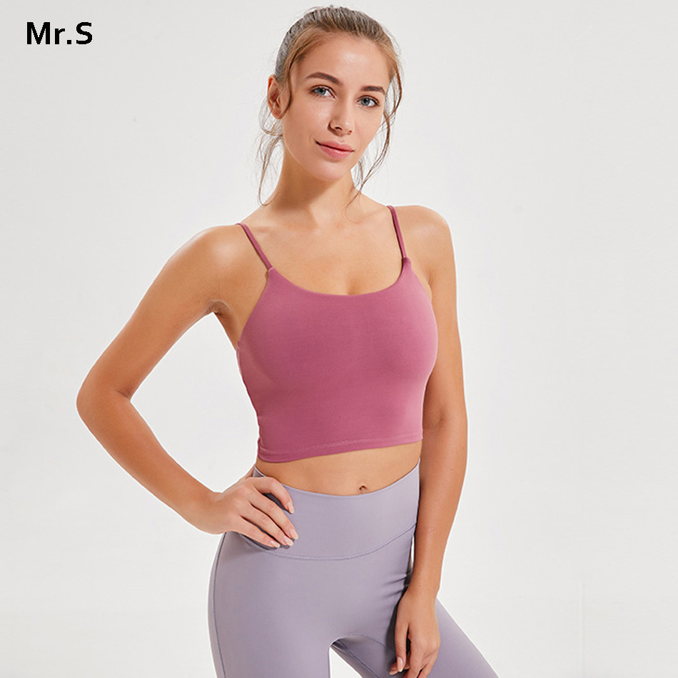 3fde6dc8b2 Thin strap workout tops for women fitness yoga shirts strappy gym crop top  padded pink sport
