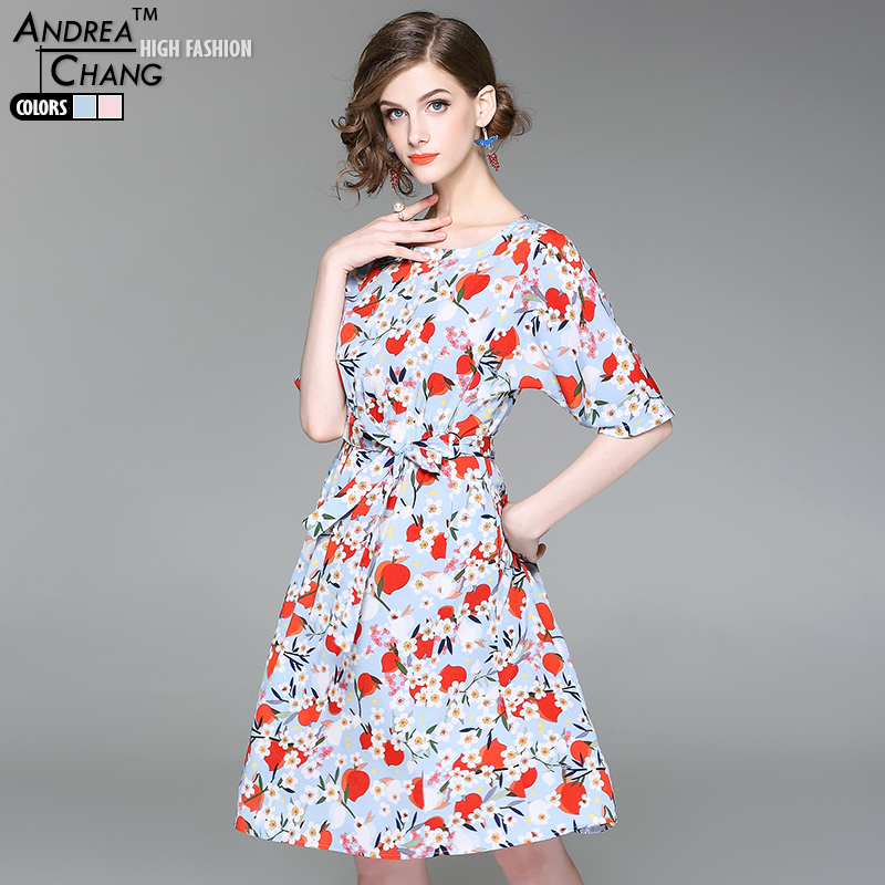 high quality spring summer woman dress white flower red peach pattern print dress with belt knee length white sky blue dress