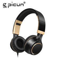 Cheapest Picun I58 Wired Earphone for Phones Foldable Headsets with Strong Bass AUX Cable for Computer Headphones with Microphone