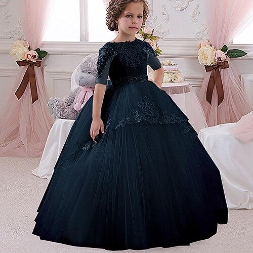 Champaña elegante vestido de la muchacha de la flor con la cinta Beige arco Crew Neck vestidos de la bola de malla niños vestidos de comunión para la Navidad 2 14 - 3