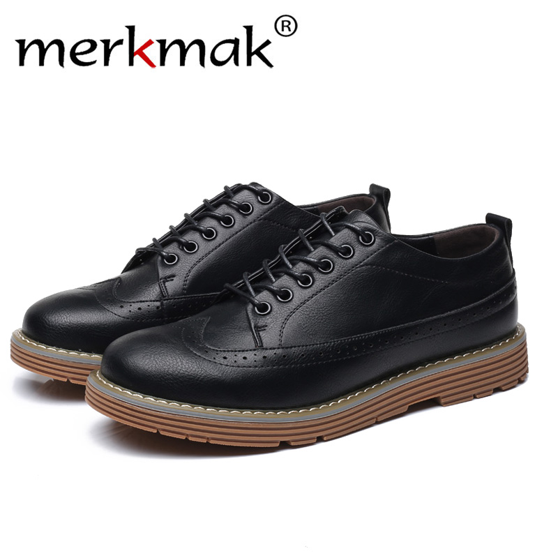Merkmak Winter New Casual Shoes Men's Leather Flats Lace-Up Shoes Simple Stylish Male Shoes Large Sizes Oxford Shoes For Men stylish men s casual shoes with metal and lace up design