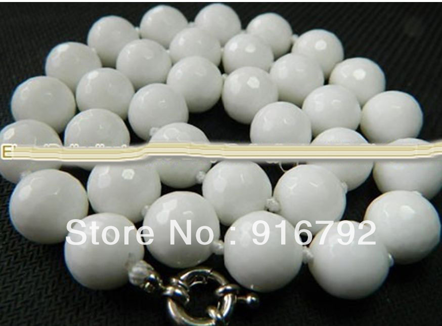 Charming! 10mm White Sea Coral Faceted Round Necklace