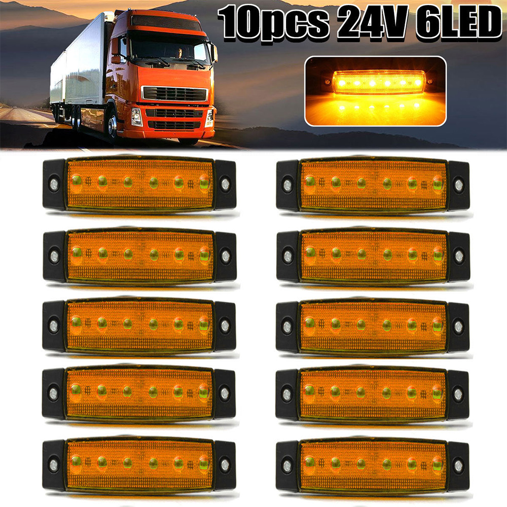 10pcs Yellow External 24V 6 SMD LED Auto Car Bus Truck Wagons Marker Indicator