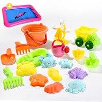 Zachte Siliconen strand speelgoed voor kinderen Zandbak Set Kit Zee zand emmer Hark Zandloper Water Tafel spelen en plezier Schop mold zomer 3