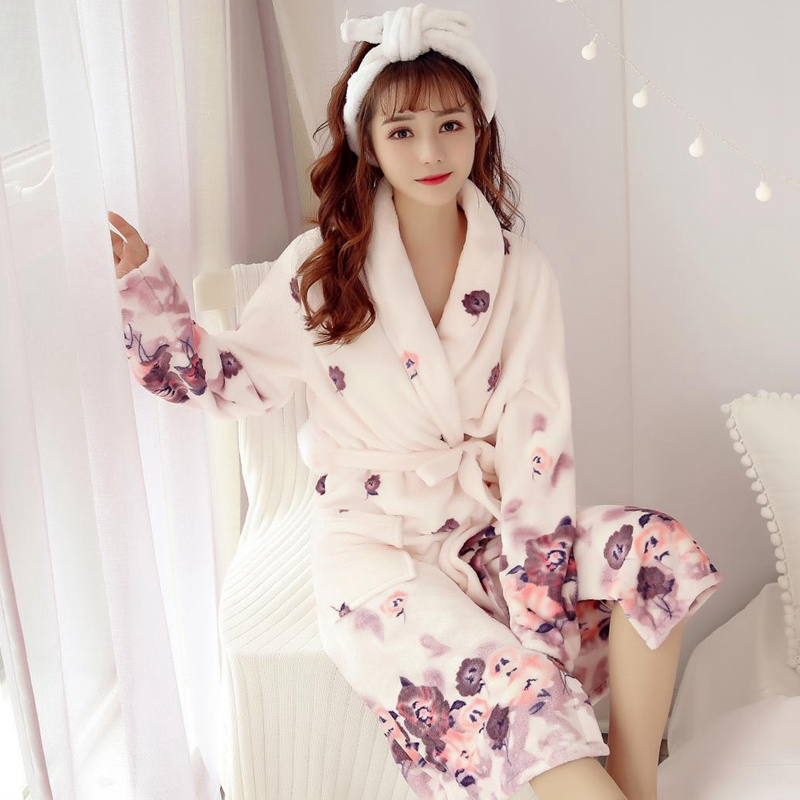 2018 Winter Thick Warm Soft Flannel Kimono Robes For Women Long Sleeve Flower Coral Velvet Bathrobe Loungewear Homewear Clothing
